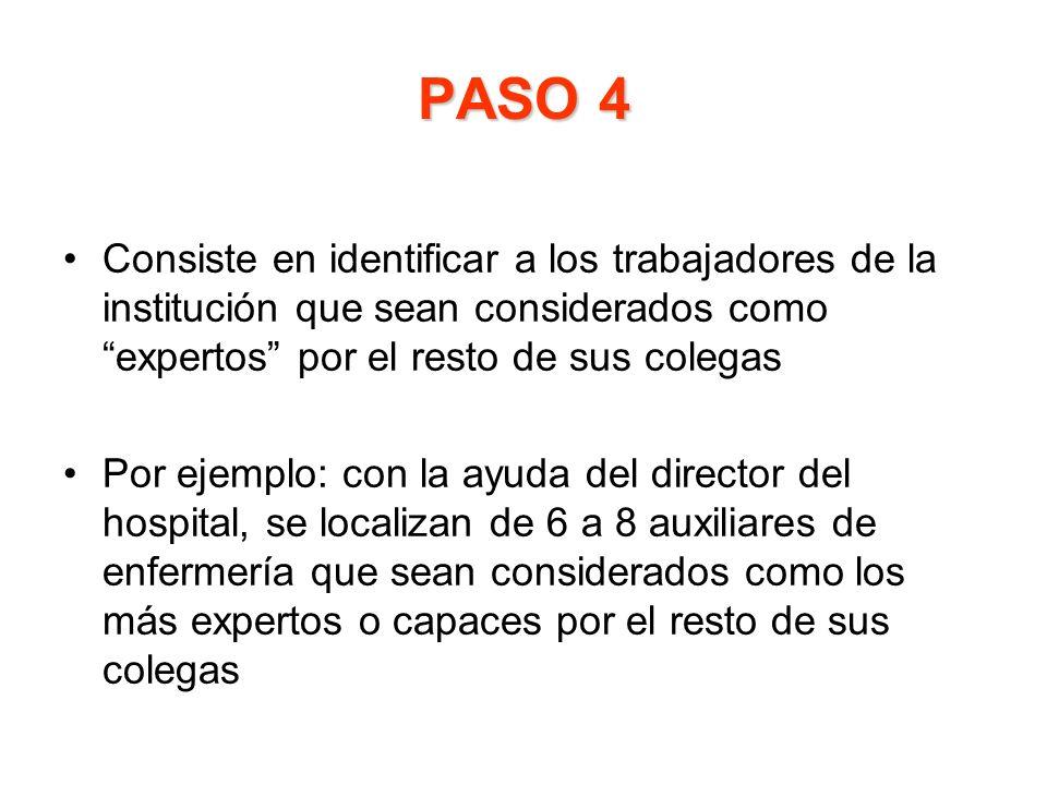 PASO 4 Consiste en identificar a los trabajadores de la institución que sean considerados como expertos por el resto de sus colegas.