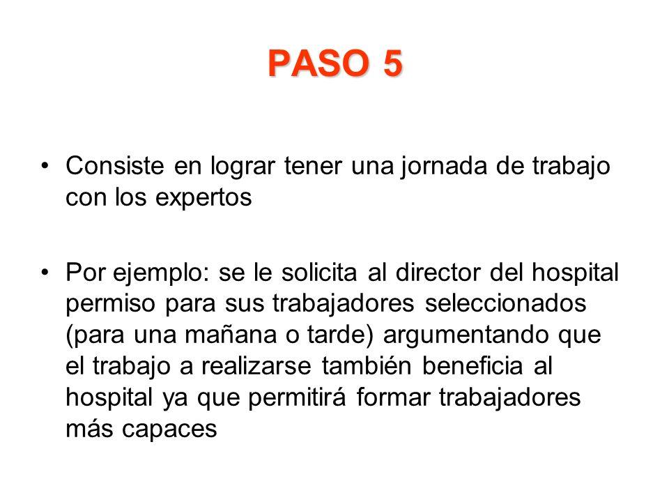 PASO 5 Consiste en lograr tener una jornada de trabajo con los expertos.