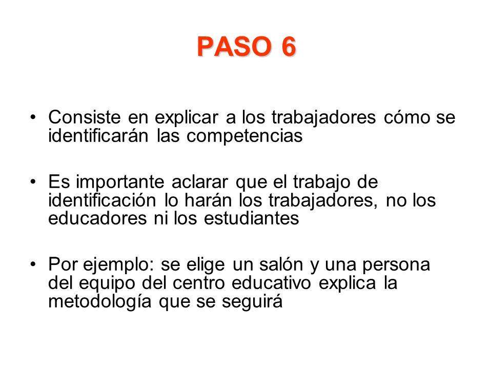 PASO 6 Consiste en explicar a los trabajadores cómo se identificarán las competencias.