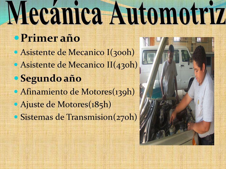 Mecánica Automotriz Primer año Segundo año