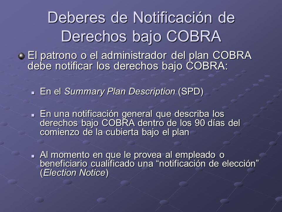 Deberes de Notificación de Derechos bajo COBRA