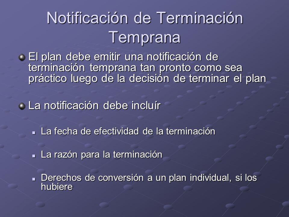 Notificación de Terminación Temprana