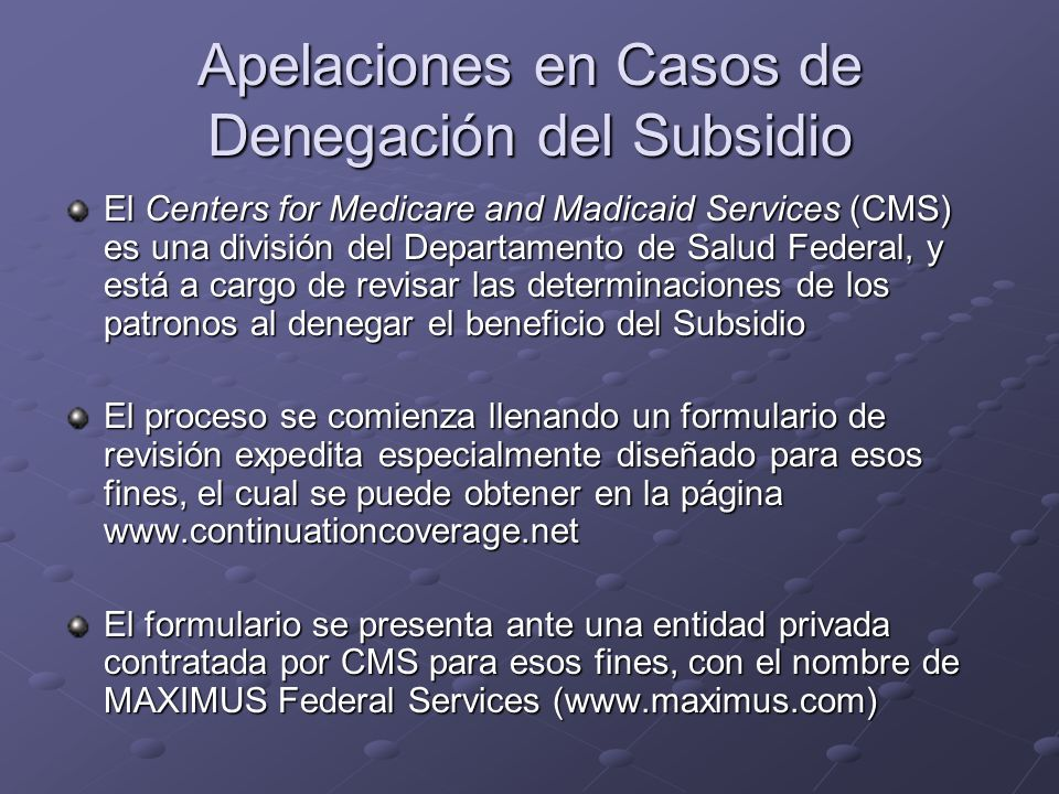 Apelaciones en Casos de Denegación del Subsidio