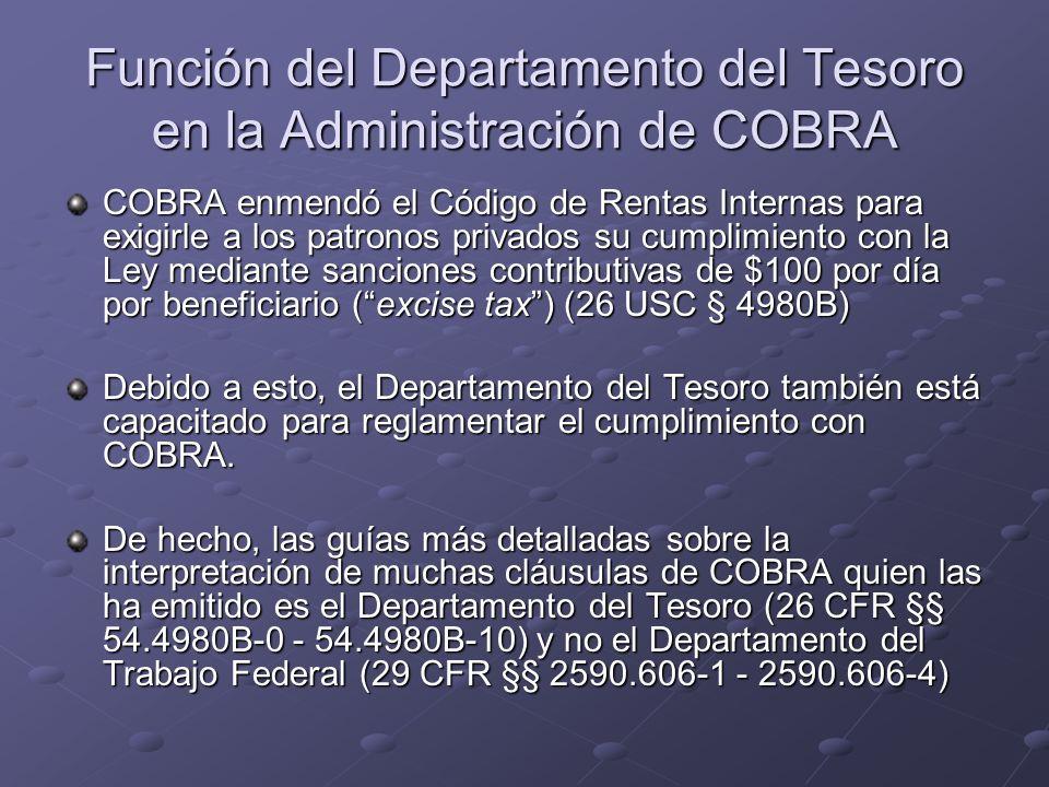 Función del Departamento del Tesoro en la Administración de COBRA