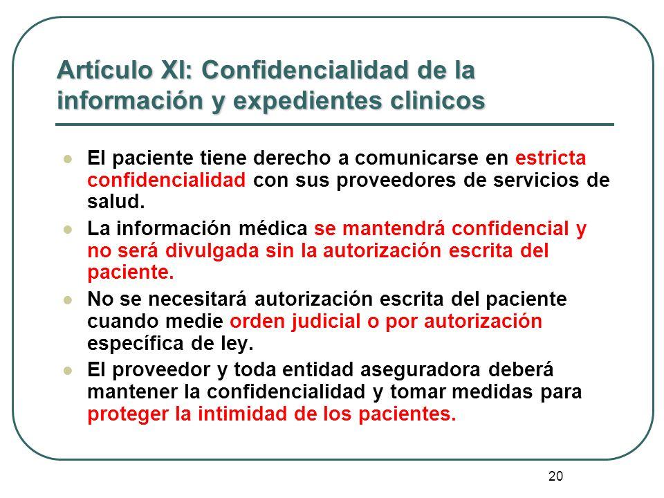 Artículo XI: Confidencialidad de la información y expedientes clinicos