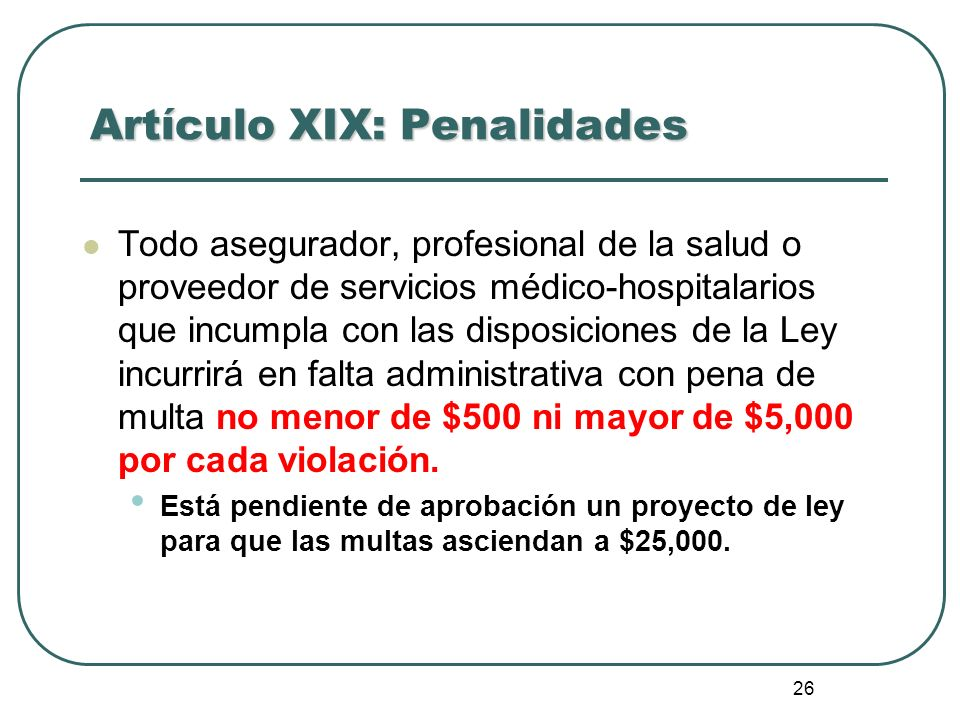 Artículo XIX: Penalidades