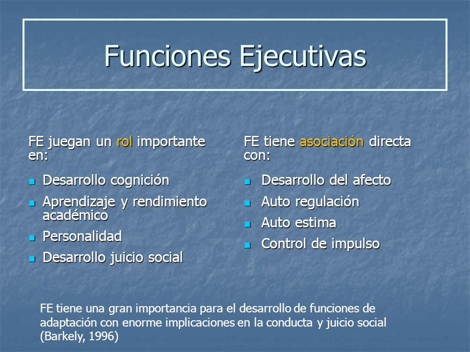 Funciones Ejecutivas FE juegan un rol importante en:
