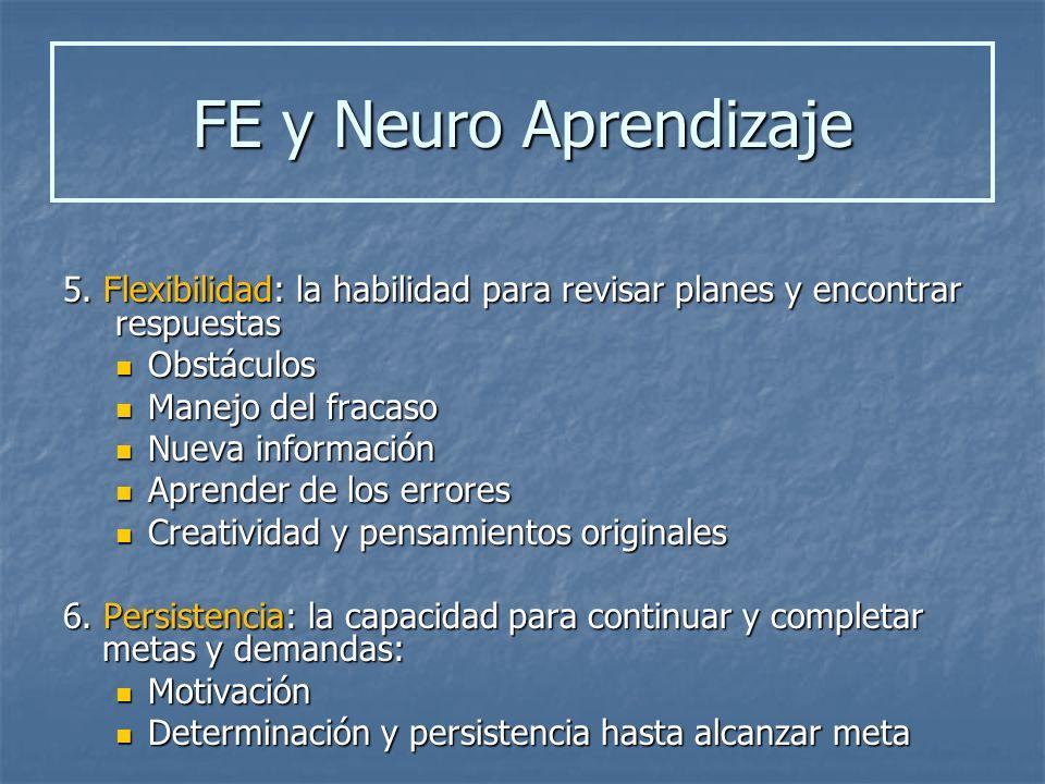 FE y Neuro Aprendizaje 5. Flexibilidad: la habilidad para revisar planes y encontrar respuestas. Obstáculos.