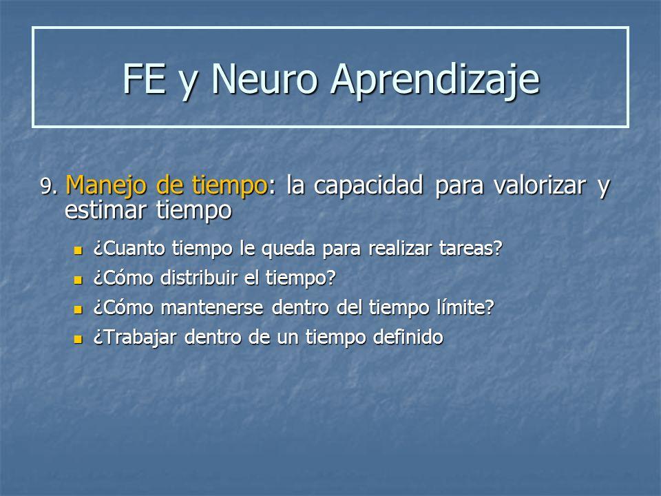 FE y Neuro Aprendizaje 9. Manejo de tiempo: la capacidad para valorizar y estimar tiempo. ¿Cuanto tiempo le queda para realizar tareas