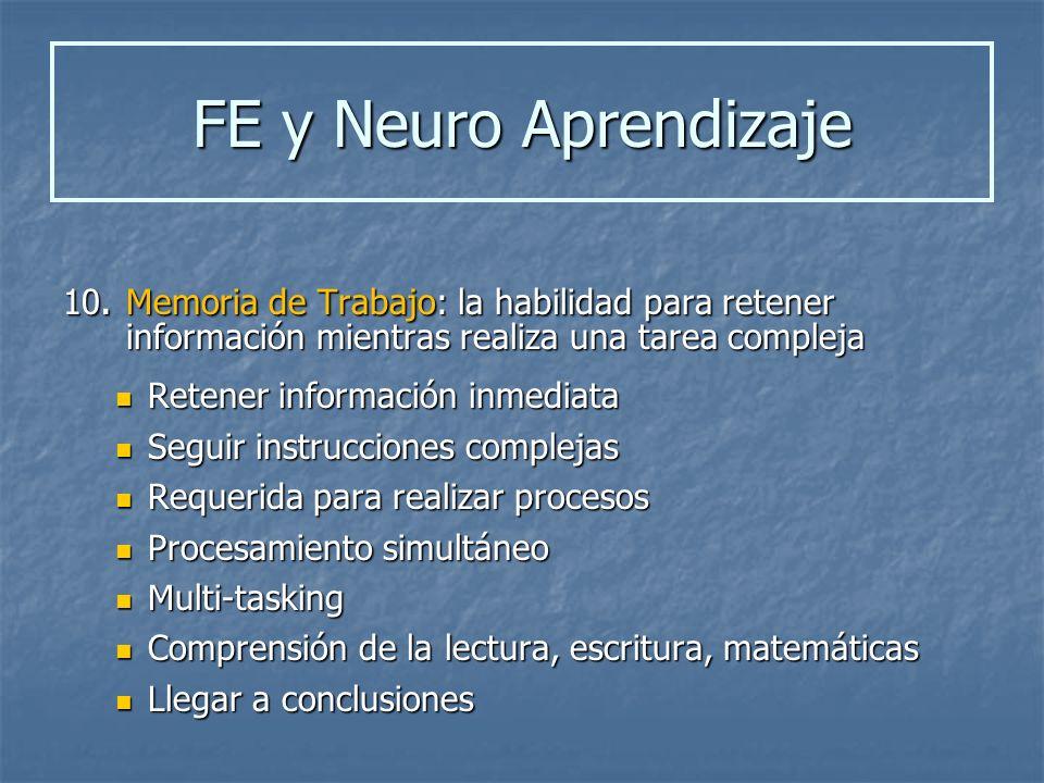 FE y Neuro Aprendizaje 10. Memoria de Trabajo: la habilidad para retener información mientras realiza una tarea compleja.