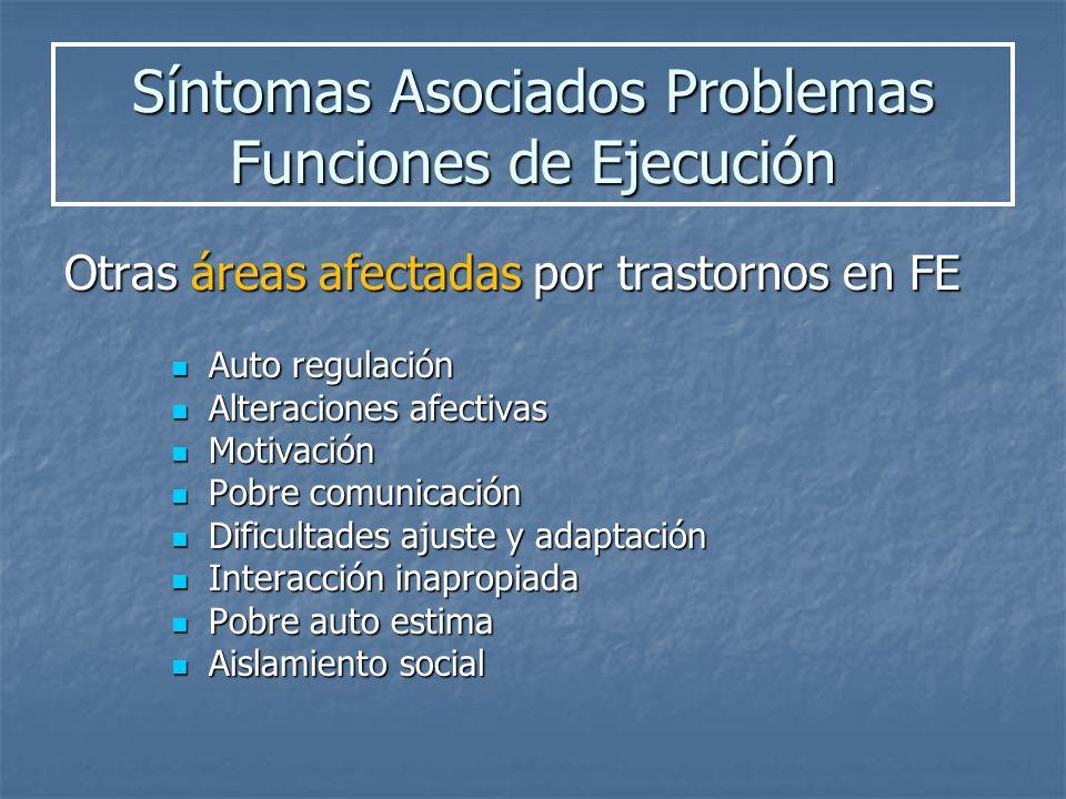 Síntomas Asociados Problemas Funciones de Ejecución
