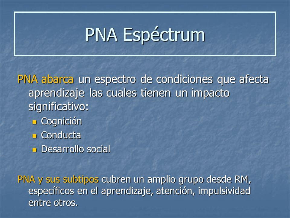 PNA Espéctrum PNA abarca un espectro de condiciones que afecta aprendizaje las cuales tienen un impacto significativo: