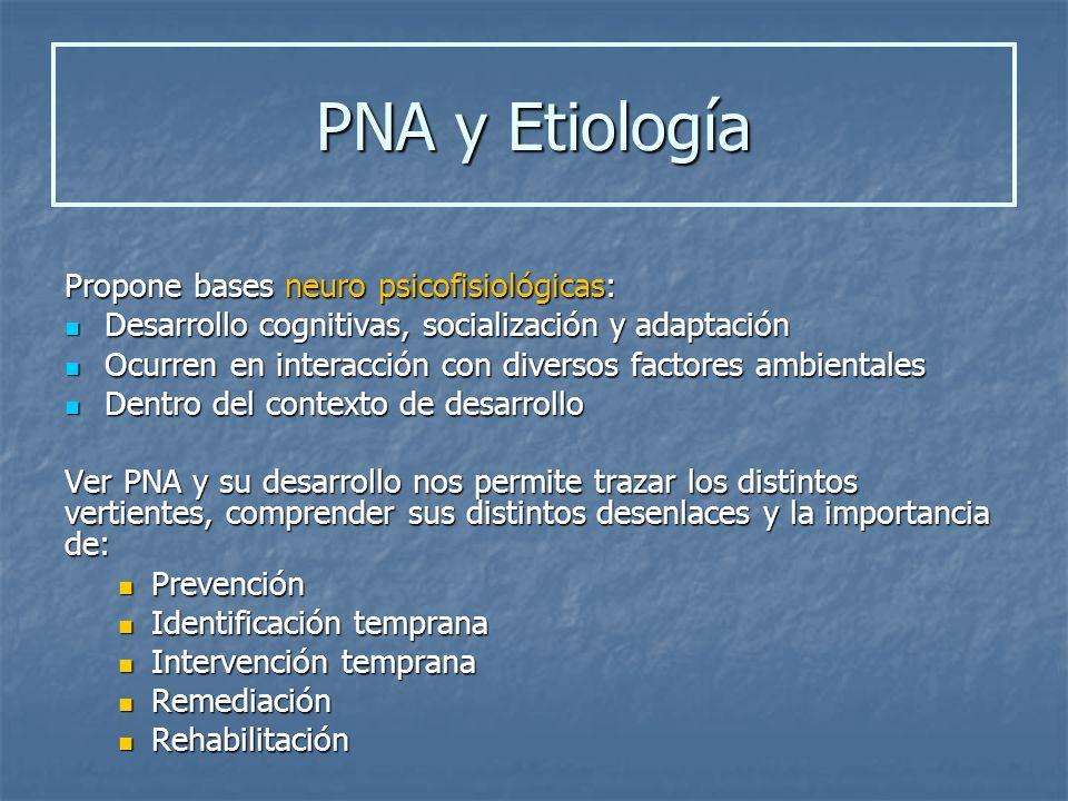 PNA y Etiología Propone bases neuro psicofisiológicas:
