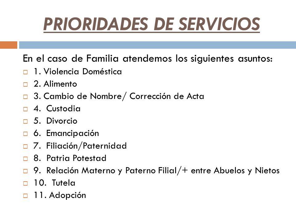 PRIORIDADES DE SERVICIOS