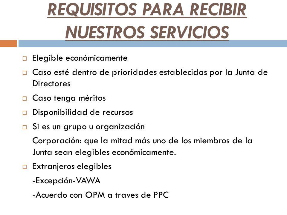 REQUISITOS PARA RECIBIR NUESTROS SERVICIOS