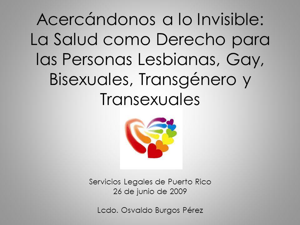 Acercándonos a lo Invisible: La Salud como Derecho para las Personas Lesbianas, Gay, Bisexuales, Transgénero y Transexuales