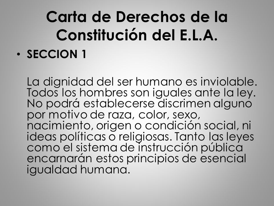 Carta de Derechos de la Constitución del E.L.A.