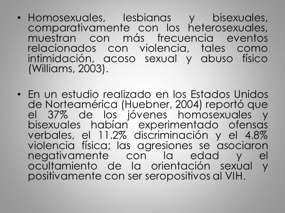 Homosexuales, lesbianas y bisexuales, comparativamente con los heterosexuales, muestran con más frecuencia eventos relacionados con violencia, tales como intimidación, acoso sexual y abuso físico (Williams, 2003).