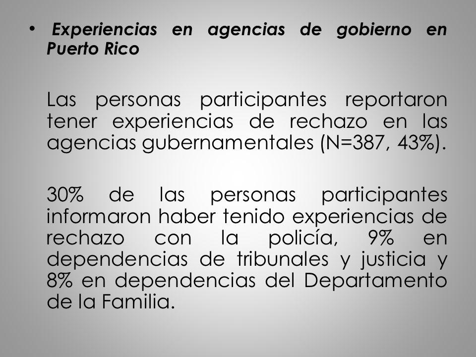 Experiencias en agencias de gobierno en Puerto Rico