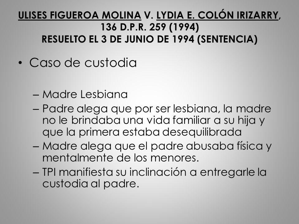 Caso de custodia Madre Lesbiana
