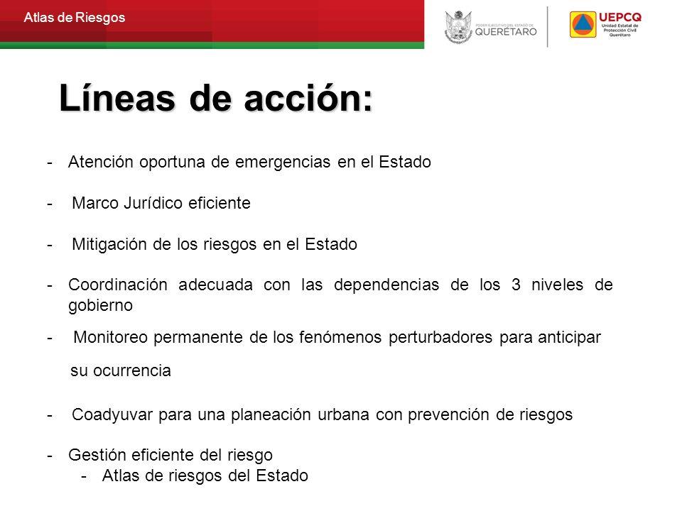 Líneas de acción: Atención oportuna de emergencias en el Estado