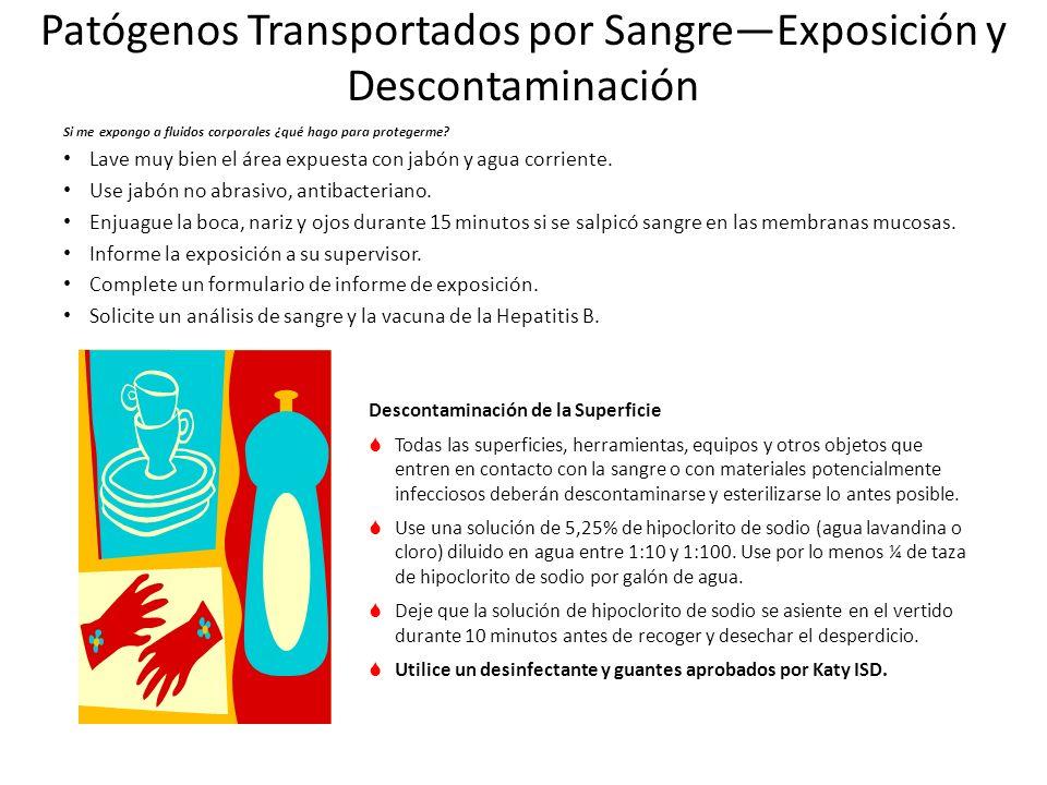 Patógenos Transportados por Sangre—Exposición y Descontaminación