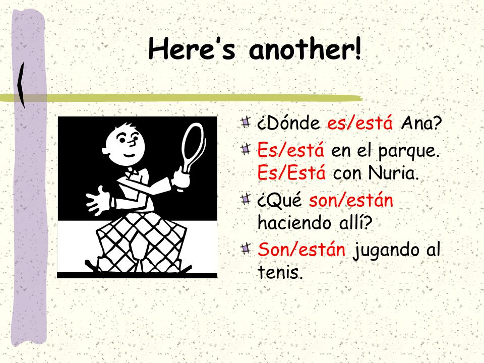 Here's another! ¿Dónde es/está Ana