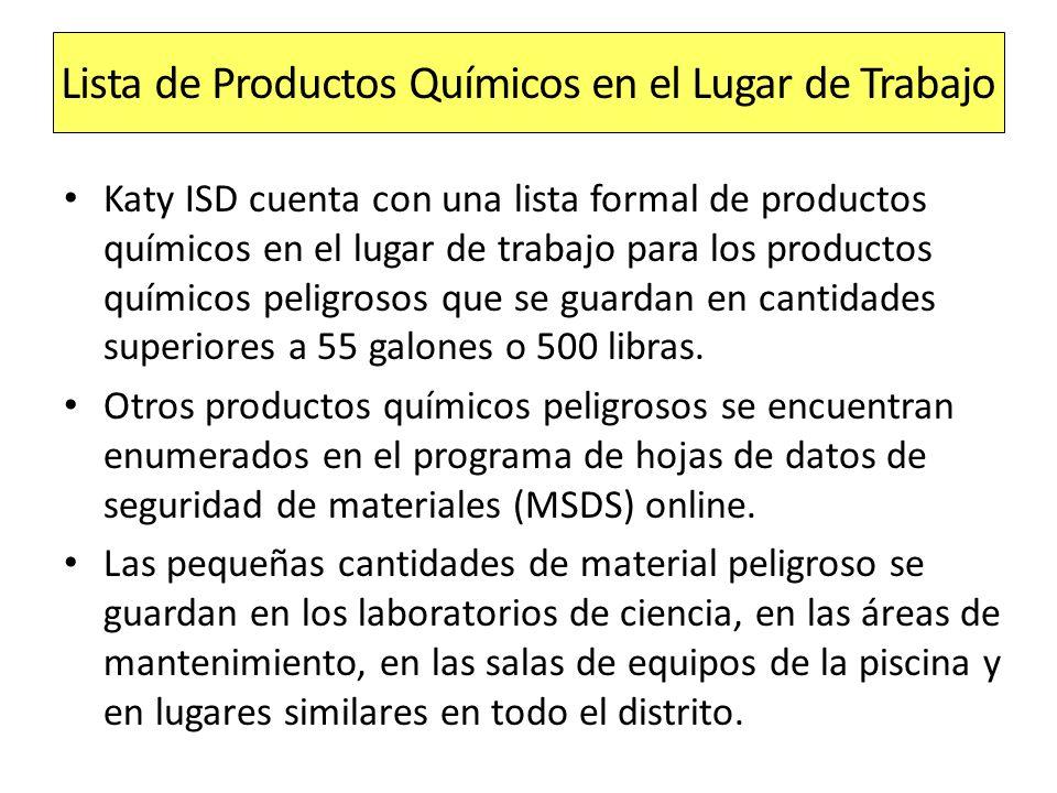 Lista de Productos Químicos en el Lugar de Trabajo
