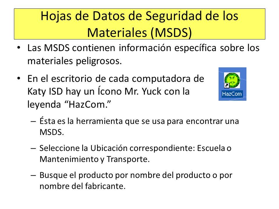 Hojas de Datos de Seguridad de los Materiales (MSDS)