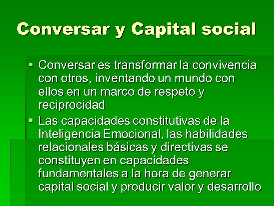 Conversar y Capital social