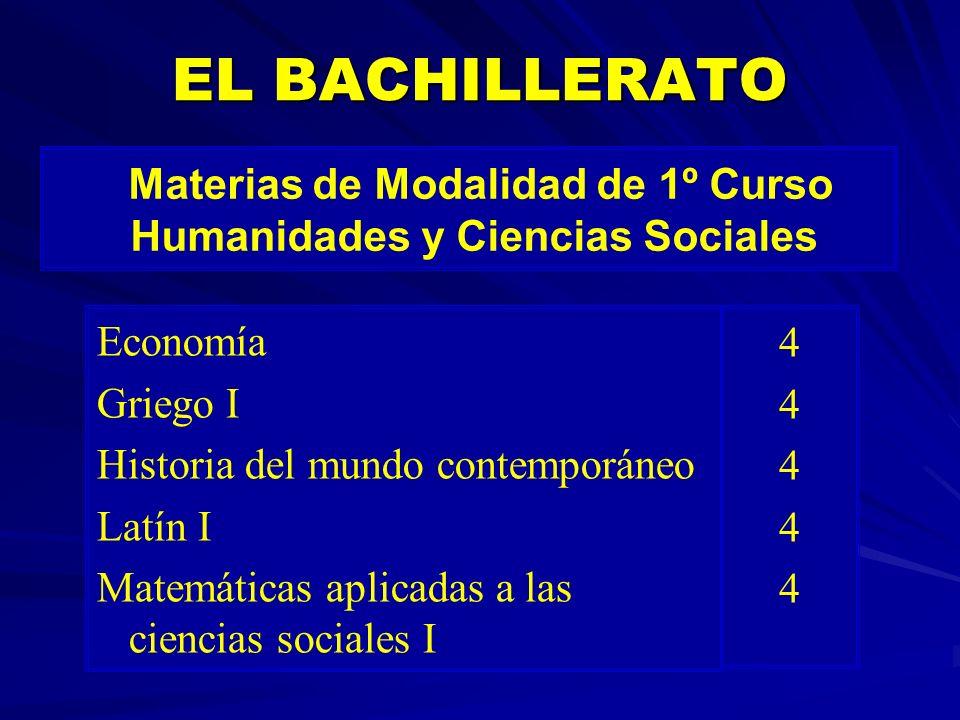 Materias de Modalidad de 1º Curso Humanidades y Ciencias Sociales