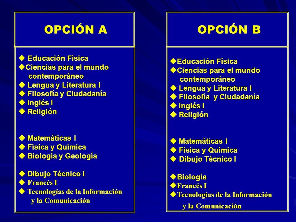OPCIÓN B OPCIÓN A Educación Física Educación Física