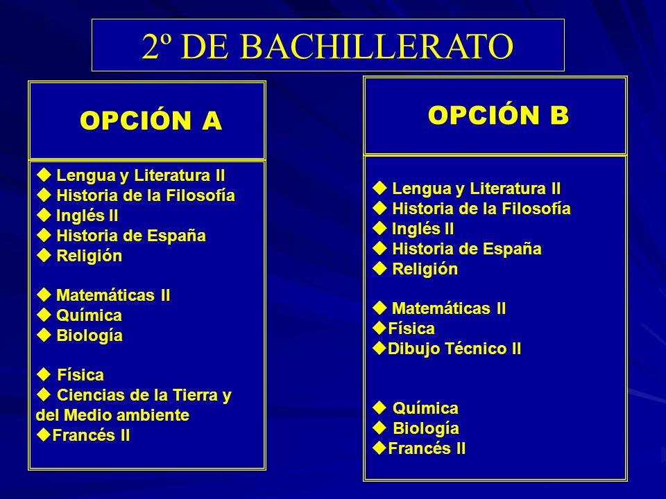 2º DE BACHILLERATO OPCIÓN A OPCIÓN B  Lengua y Literatura II