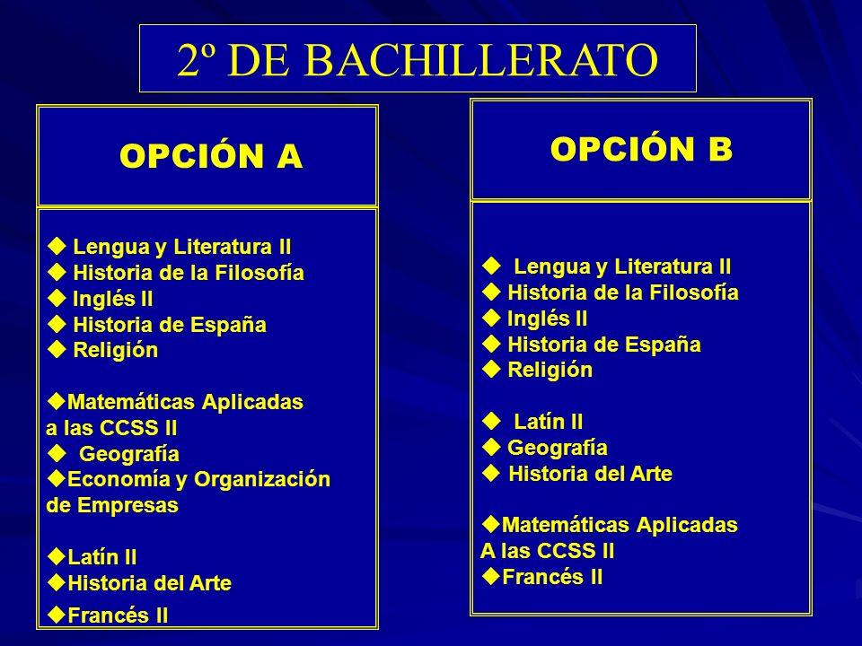 2º DE BACHILLERATO OPCIÓN B OPCIÓN A  Lengua y Literatura II