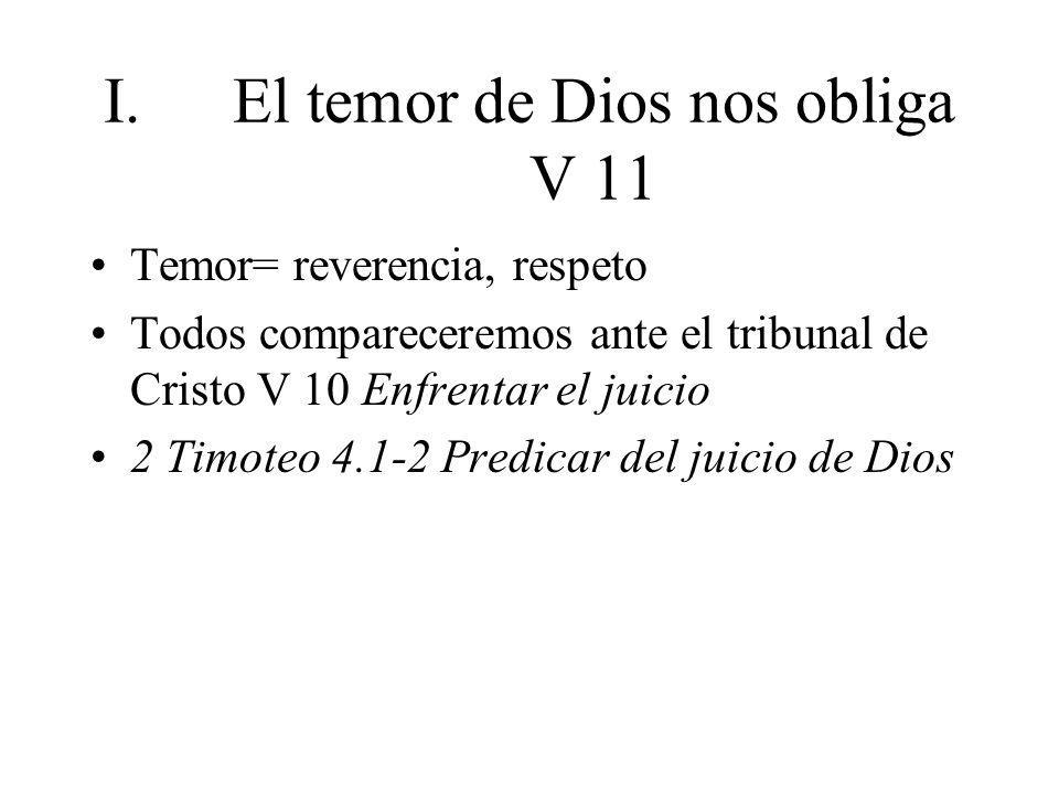 El temor de Dios nos obliga V 11