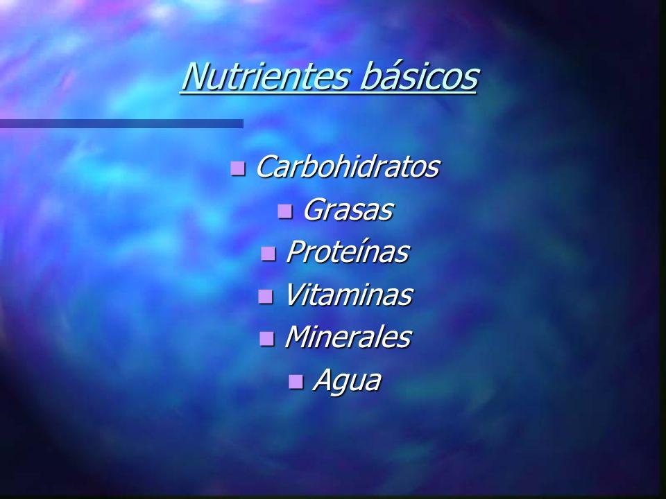 Nutrientes básicos Carbohidratos Grasas Proteínas Vitaminas Minerales