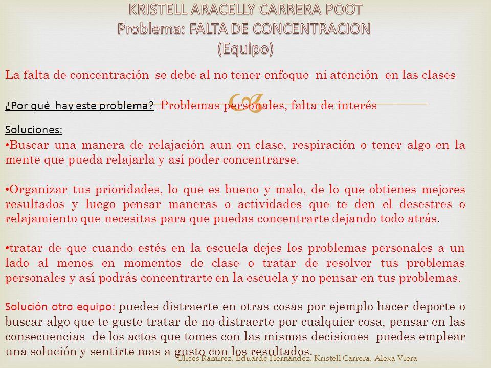 KRISTELL ARACELLY CARRERA POOT Problema: FALTA DE CONCENTRACION