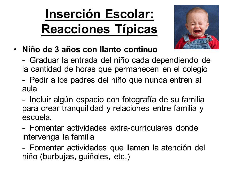 Inserción Escolar: Reacciones Típicas