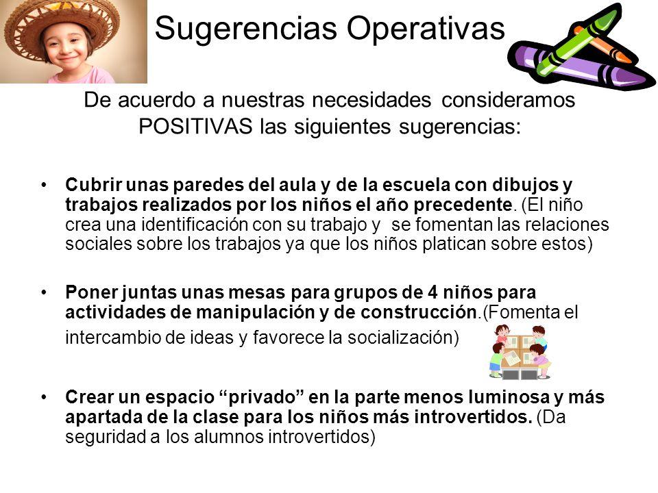 Sugerencias Operativas De acuerdo a nuestras necesidades consideramos POSITIVAS las siguientes sugerencias: