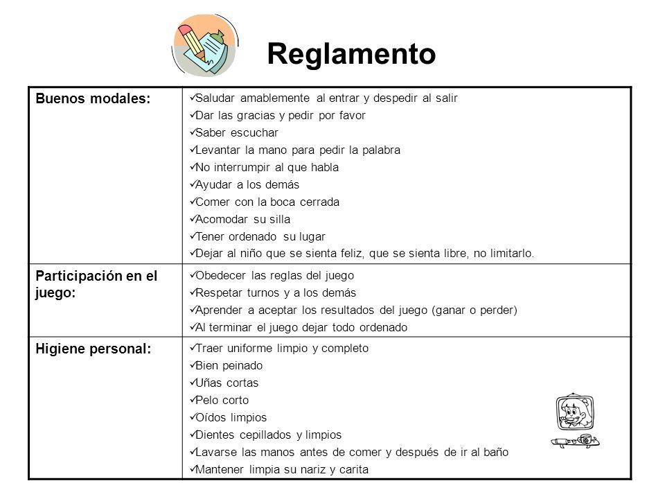 Reglamento Buenos modales: Participación en el juego: