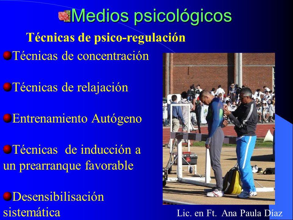 Medios psicológicos Técnicas de psico-regulación
