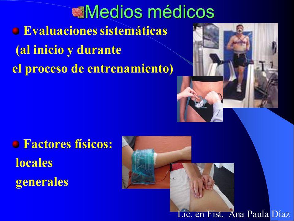 Medios médicos Evaluaciones sistemáticas (al inicio y durante
