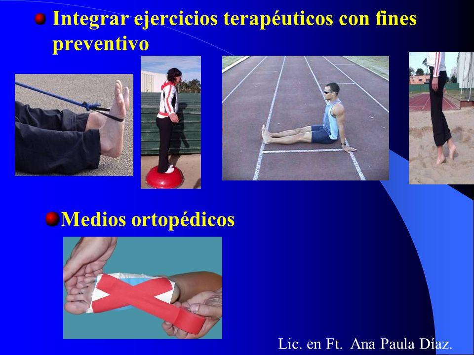 Integrar ejercicios terapéuticos con fines preventivo