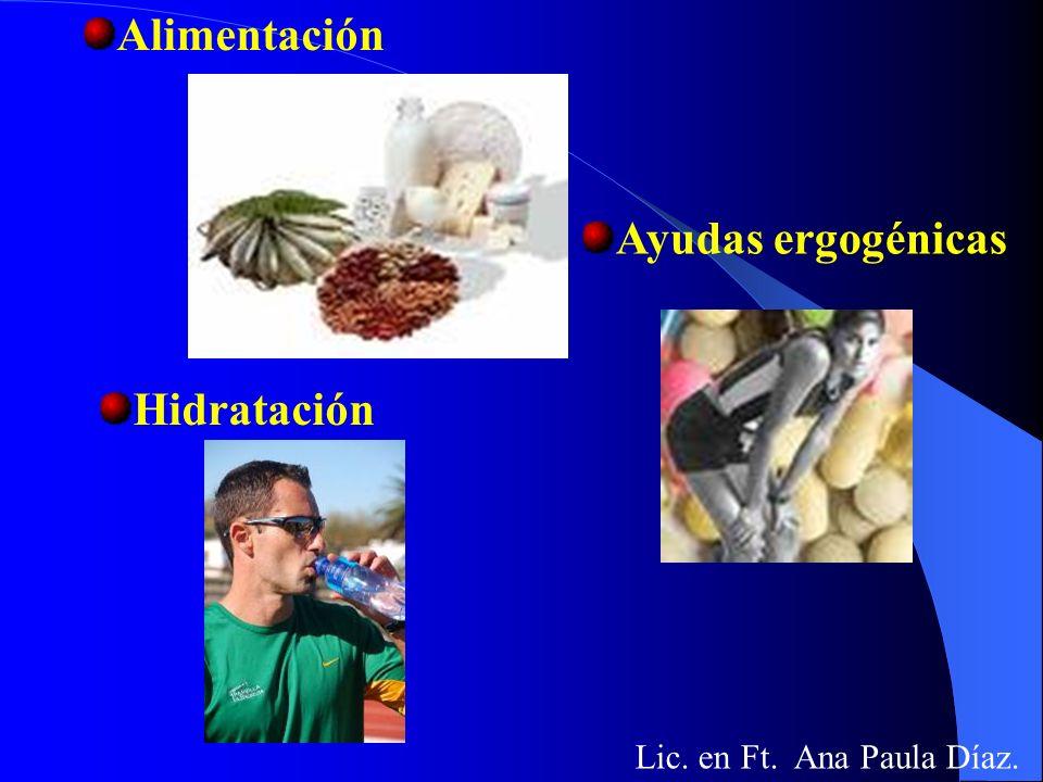 Alimentación Ayudas ergogénicas Hidratación