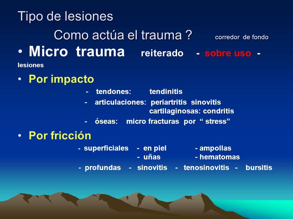 Tipo de lesiones Como actúa el trauma corredor de fondo