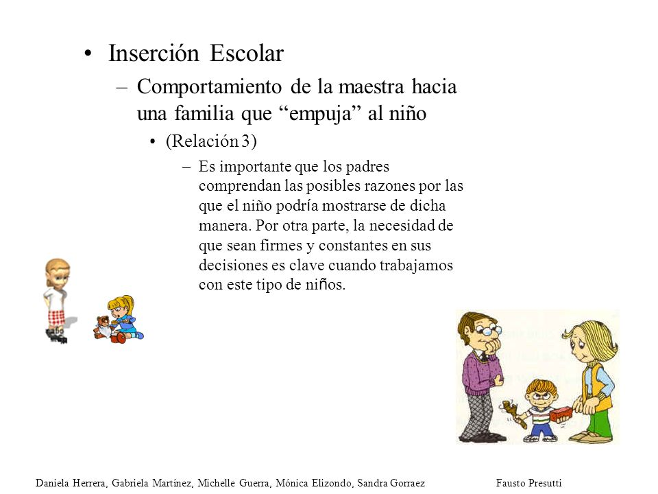 Inserción Escolar Comportamiento de la maestra hacia una familia que empuja al niño. (Relación 3)