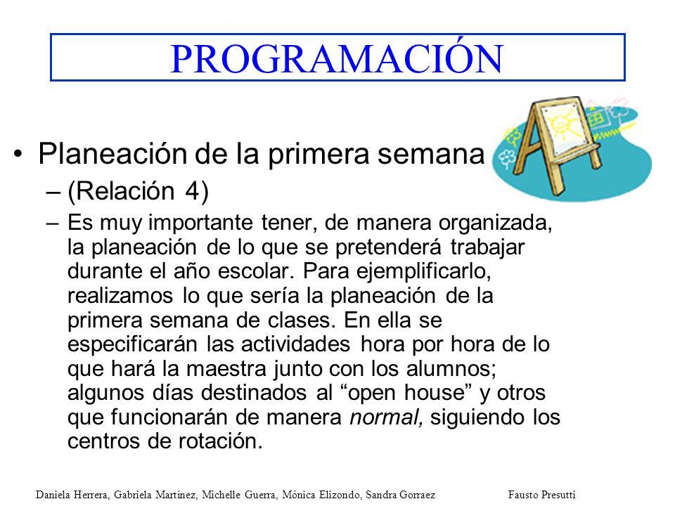 PROGRAMACIÓN Planeación de la primera semana (Relación 4)