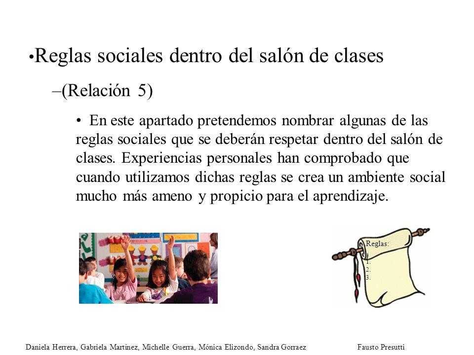 Reglas sociales dentro del salón de clases