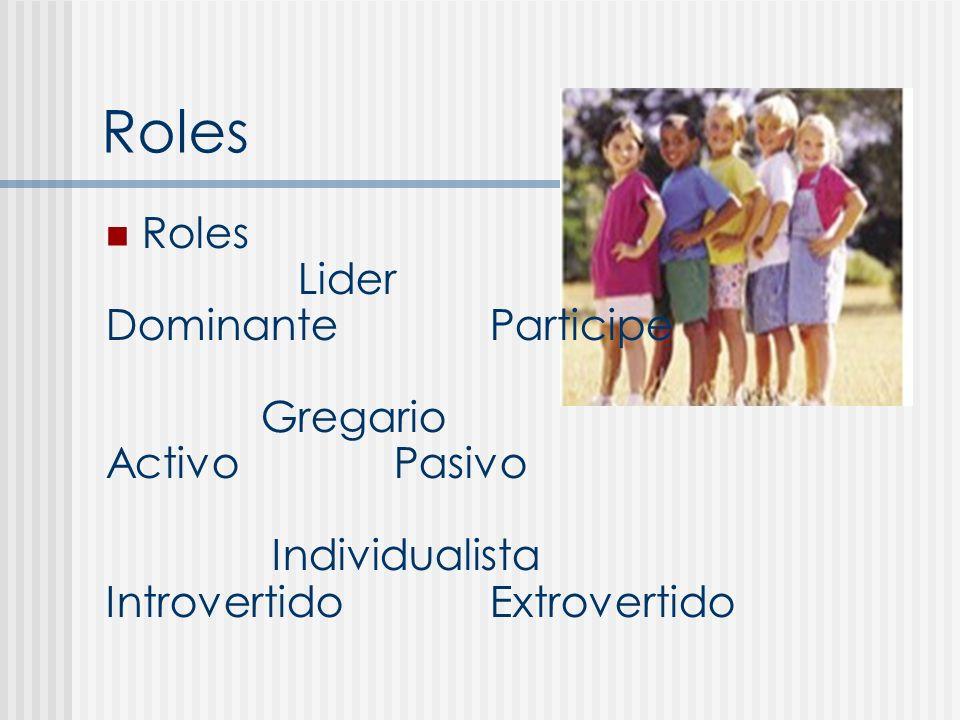 Roles Roles Lider Dominante Participe Gregario Activo Pasivo