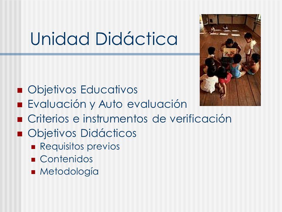 Unidad Didáctica Objetivos Educativos Evaluación y Auto evaluación